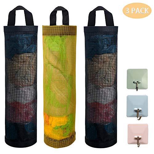 JEZOMONY Plastiktüte Halter 3pcs Mesh Müllsack Folding Hanging Storage Dispenser Bag Müllsäcke Halter Organizer Recycling Lebensmittel Tasche Container mit 3 Haken für Haus und Küche Schwarz und Gelb