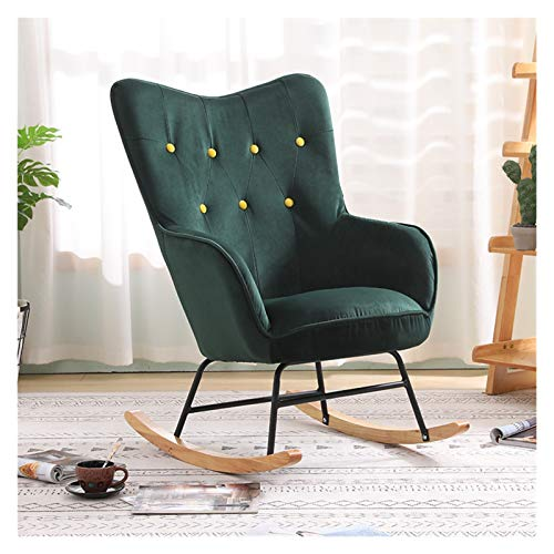 HQQ Nordic Single Rocking Chair Sofa Recliner Armchair Living Room Bedroom Balcony Lounge Chair Nap Chair Lazy Chair (Color : Green Color)