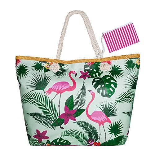 WolinTek Große Wasserdicht Strandtasche mit Reißverschluss und Innentasche Sommer TascheVerschluss Damen Shopper Tasche Schultertasche Badetasche Beach Bag Umhängetasche für Mädchen (Style 3)