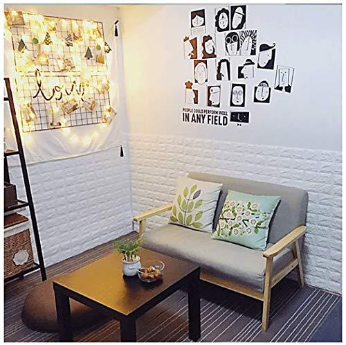 ZHome 3D Brick Tapete, 77x70cm Self Adhesive Verdicken 3D White Stone Muster Wasserdicht Wall Panel Abziehen Und Aufkleben Tapete, Für DIY Steuern Dekoration 10Pcs (weiß) (Size : 20pcs)