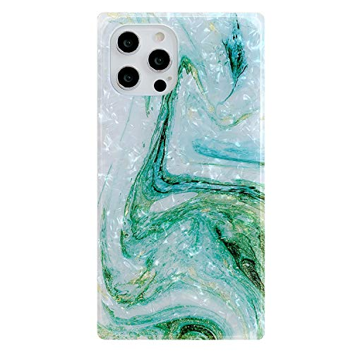 Compatible with iPhone 12 Pro Max Case 6.7 inch Marble Square Design Shockproof Soft Silicone Rubber TPU Bumper Cute Protective Phone Case Cover for Women (Green)
