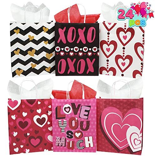 24 Valentines Day Gift Bags with Handle, Paper Wrapping Kraft Bags for Funny Gifts Novelty Gifts Valentines Day Party Favors