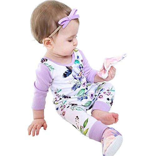 Newborn Baby Girls Floral Print Long Sleeve Bodysuit Romper Jumpsuit Playsuit Outfit Clothes Set (12-18 Months)