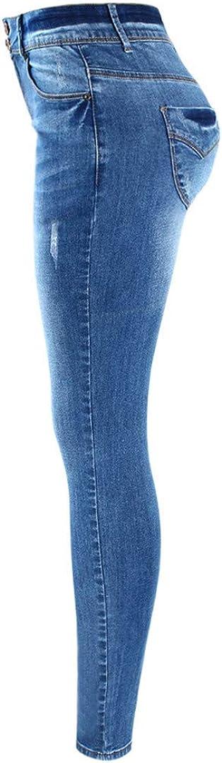 Basic Chic Style de Fading Extensible Skinny Ture Denim Jeans Femme Pantalon Blue