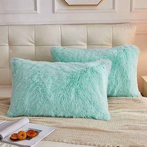 LIFEREVO 2 Pack Shaggy Plush Faux Fur Pillow Shams Fluffy Decorative Pillowcases Zipper Closure (Mint, King)