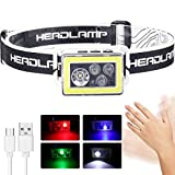 LED Head Torch, Motion Sensor USB Rechargeable Headlamp Ultra Bright 200 Lumens, 10 Lighting Modes, 4 Colors Light, Waterproof Headlight for Kids Adults, Running, Walking Dog, Cycling, Fishing