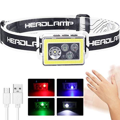 Linterna de Cabeza LED, Lámpara de Cabeza Ligera Recargable USB con 3 Modos 4 Colores, Faro Brillante Ajustable Impermeable para Exterior Leer Correr Camping Caminar Ciclismo Pescar Casco
