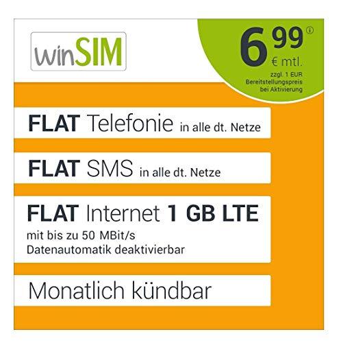 winSIM LTE All 1 GB Allnet Flat - monatlich kündbar (FLAT Internet 1 GB LTE mit max. 50 MBit/s mit deaktivierbarer Datenautomatik, FLAT Telefonie, FLAT SMS und EU-Ausland, 6,99 Euro/Monat)