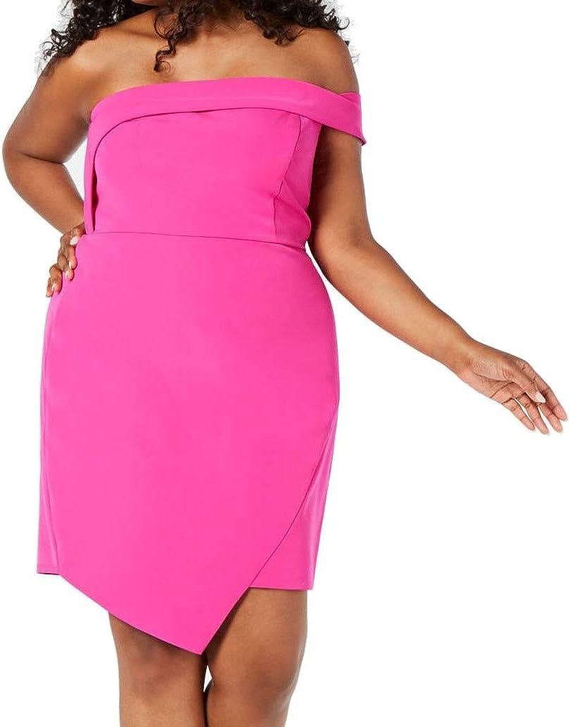 City Studio Womens Juniors Asymmetrical Off-The-Shoulder Scuba Dress