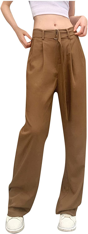 iHHAPY Women's Khaki High Waist Woven Pants Casual Work Slim Pencil Comfy Straight Leg Trousers with Belt