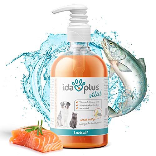 Ida Plus - Premium Lachsöl in Lebensmittelqualität für Tiere - 500 ml Pumpflasche – für Hunde, Katzen und Pferde - mit Omega 3 & 6 Fettsäuren – Fischöl kaltgepresst - Made in Germany