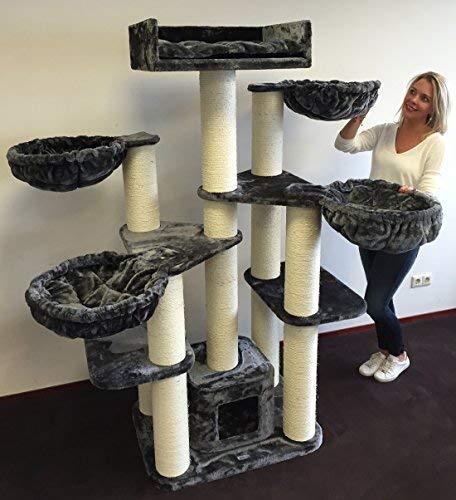 Rascador para gatos grandes Maine Coon Fantasy Gris oscuro baratos arbol xxl gato adultos con hamaca gigante sisal muebles escalador torre Árboles rascadores cama cueva repuesto medianos