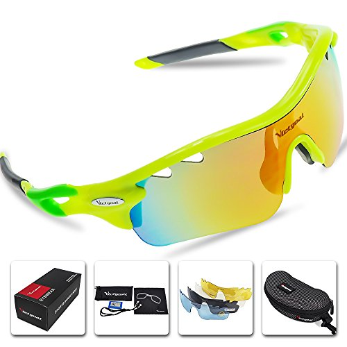 VICTGOAL Sports Sunglasses Polarized for Men and Women 5 Interchangeable Lenses Tr90 Frame UV400 Protection Fishing Driving Running Golf Cycling Glasses (Yellow)