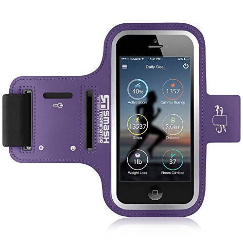 iPod Touch Running Armband | Smash Terminator Neoprene Sports Gym Arm band for iPod Touch 1st, 2nd, 4th, 5th, 6th & New 7th Generation. 8gb, 16gb, 32gb & 64gb with Key Holder and Reflective Strip (As Seen in Runners World Magazine - 5 Stars) inc. 18-Month Warranty (Purple)
