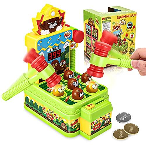 Godmorn Juegete de Martillo, Mini Juego de Arcade para niños de 3 a 6 años, Juguete Educativo para el Desarrollo con 2 martillos, máquina de Juego de Topos Que Funciona con Monedas