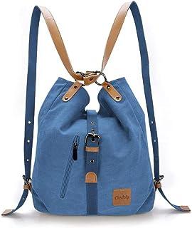 Gindoly Stilvolle Damen Canvas Handtasche Rucksack Umhängetasche 3 in 1 Große Multifunktionale Tasche für Arbeit Schule AlltagBlau