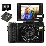 Appareil Photo Numérique 30 MP Vlogging Camera 2.7K Full HD Compact Camera avec 3 Pouces Flip Screen Camera pour Youtube avec 2 Piles