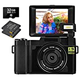 YinFun Digitalkamera 30 MP Fotoapparat Digitalkamera 2.7K Full HD Vlog Kompaktkamera, Schwarz