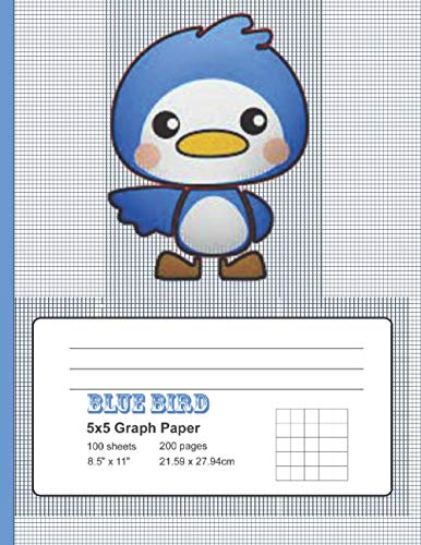 Bluebird Graph Paper: 5x5 Graph Paper, 100 Sheets, Notebook|8.5 x 11|100 pages