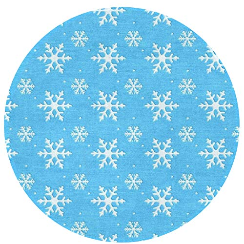 NiYoung Best Play Mat Carpet for Kids Room Decorations & Teepee Tent Blue Frozen Snowflake 16 Inch Indoor Area Rug Non-Slip Round Mat for Bedroom Living Room Kitchen Nursery and More