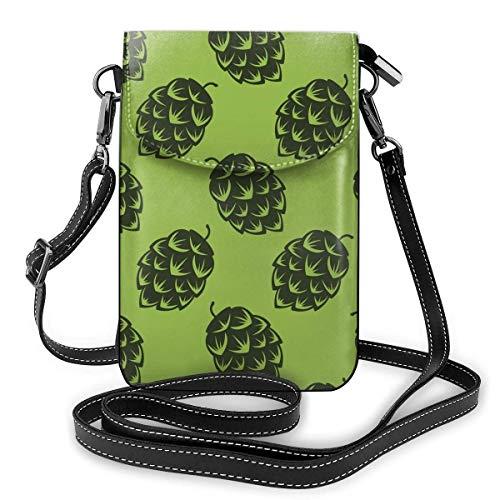 Lawenp Monedero de cuero para teléfono, bolso bandolera pequeño con lúpulo de cerveza verde Mini bolso de hombro para teléfono celular para mujeres