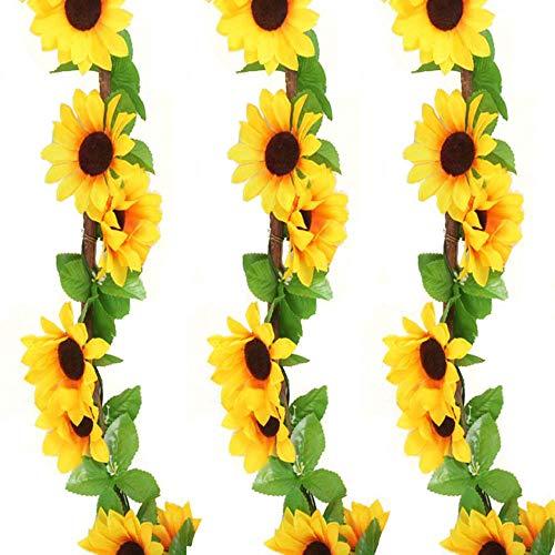 JINXM 3 Piezas Guirnalda Artificial de Girasol Girasoles Artificiales Grandes Decoración 2.4 m Planta Artificial Colgante para Boda Decoración de balcón de Fiesta de Jardín(Amarillo)