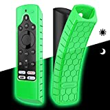 CaseBot Silicone Case for Fire TV Edition Remote - Honey Comb Series [Anti Slip] Shock Proof Cover for Amazon Insignia Smart HD TV Voice Remote/Element Smart TV Voice Remote, Green-Glow