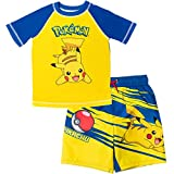 Pokemon Pikachu Little Boys 2 Piece Rash Guard & Swim Trunks Set Yellow/Navy 5-6