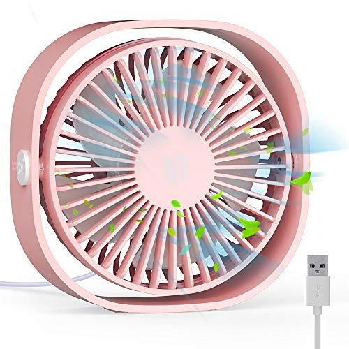 RATEL Ventilador de Mesa USB, Ventilador de Escritorio 12.5 cm Use con Cable de 1.2 metros, portátil y Personal para el hogar y la Oficina Silencioso y Potente, lo enfría en el Verano Caliente, Rosa