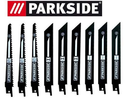Parkside Juego de 9 hojas de sierra para sierra sable PSSA 18 A1 - LIDL IAN 104447 3 x madera, 3 x metal, 3 x bimetal