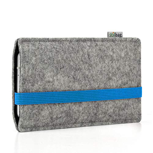 stilbag Funda Leon para Apple iPhone 11 Pro MAX   Color: Azul/Gris   Bolsa de Fieltro para Smartphone   Cubierta Protectora para móvil   Cajas para móvil Made in Germany