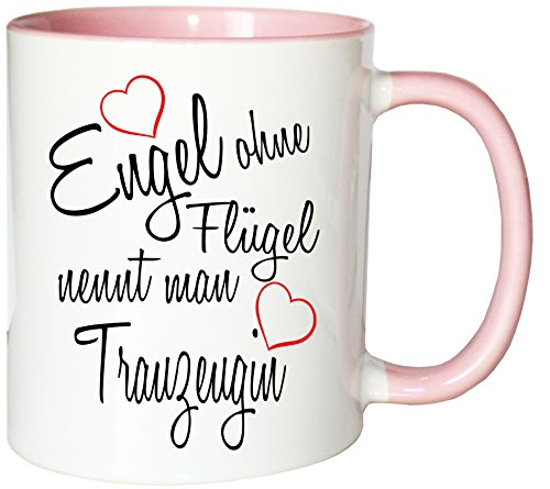 Mister Merchandise Kaffeebecher Tasse Engel ohne Flügel nennt Man Trauzeugin Hochzeit Freundin Ehe Heirat Hochzeitsantrag Teetasse Becher Weiß-Rosa