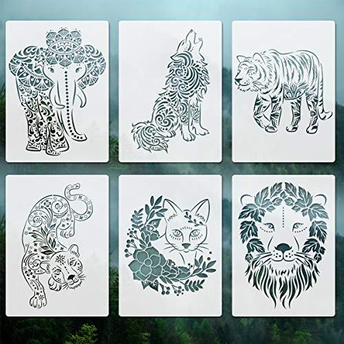 Tiere Schablonen zum Malen auf Holz - 6 Packungen A4 Elefant Löwe Tiger Katze Wolf Leopard Mylar Vorlage für Wohnkultur Leinwand Glas Wand Sammelalbum Karte Herstellung DIY Handwerk 21x29,7 cm