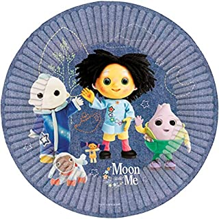 amscan 9906020 Round Paper Plates with Moon and Me Theme-8 Pcs