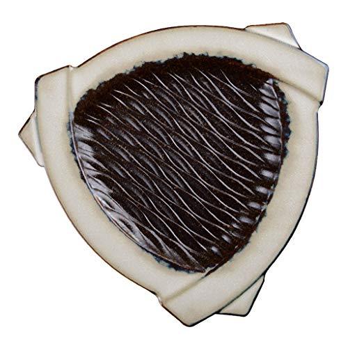 Platos Cerámica De Cerámica Torneada Horno Pintoresco Especial del Sushi Triángulo del Vajilla del Restaurante (Color : Black, Size : 26×2.5cm)