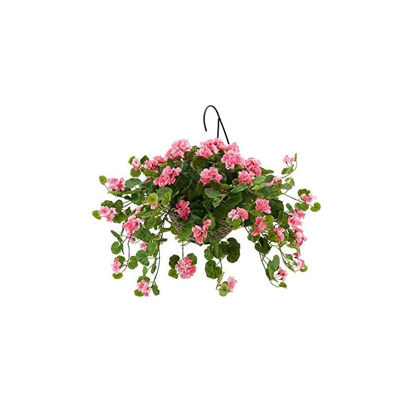 silk flower arrangements house of silk flowers artificial pink geranium in handle hanging basket (water hyacinth)
