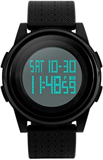 Men's Digital Sports Watch LED Screen Electronic Military Waterproof Watches for Outdoor Running with Stopwatch LED Screen