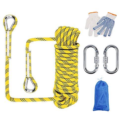 Huatuo® Outdoor-Kletterseil, Abseilseil, Outdoor-Ausflüge, Zubehör, 12 mm Durchmesser, hohe Widerstandsfähigkeit, Seil mit zwei Karabinern (50 m, gelb)