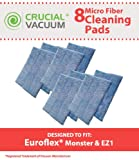 Crucial Vacuum Replacement Mop Pads - Compatible with Euroflex - Fits Euroflex EZ1 Monster Microfiber Steam Pads - Washable, Reusable Part, Models for Home, Office Universal Use - Easy Clean (8 Pack)
