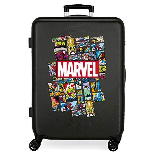 Marvel Avengers Comic Valigia media Nero 48x68x26 cms Rigida ABS Chiusura a combinazione numerica 70L 3,7Kgs 4 doppie ruote