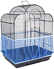 ANTOLE Universal Bird Cage Seed Catcher Stretchy Nylon Mesh Bird Cage Cover Parrot Cage Net Soft Airy (L Size, Blue)