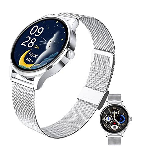 HQPCAHL Smartwatch Reloj Inteligente para Mujeres, Pulsera Actividad Inteligente con Monitor De Frecuencia Cardíaca/Presión Arterial/Oxígeno En Sangre/Sueño/Ciclo Menstrual Femenino,Plata