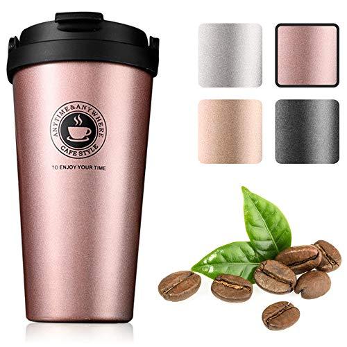 Gresunny taza de café para llevar taza de viaje aislada al vacio doble pared termo de café portátil acero inoxidable taza termo con tapa a prueba de fugas para café té cerveza 500ML