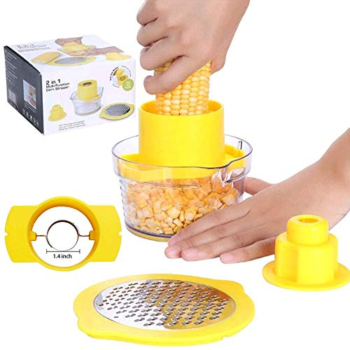 Corn Stripper Cutter,4 in 1 Corn Peeler,Kitchen Corn Cob Remover,Dishwasher Safe,Non Slip,No Electricity, No Noise,Reusable - Easy to Operate and Clean