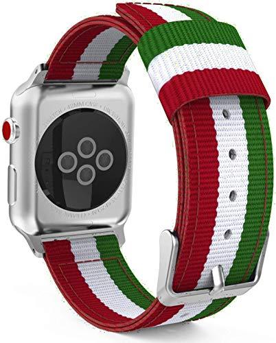 @ccessoryUK - Correa de repuesto compatible con Apple Watch de 44 mm/42 mm, correa de nailon para Apple Watch Series 6 5 4 3 2 Se (rojo + blanco + verde)