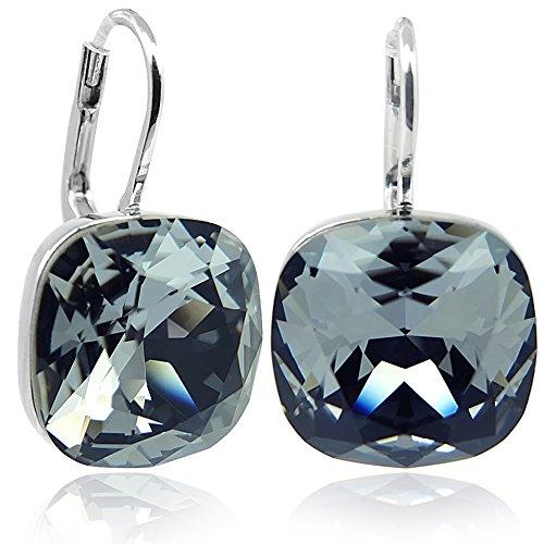 Ohrringe Schwarz mit Kristalle von Swarovski® Silber NOBEL SCHMUCK