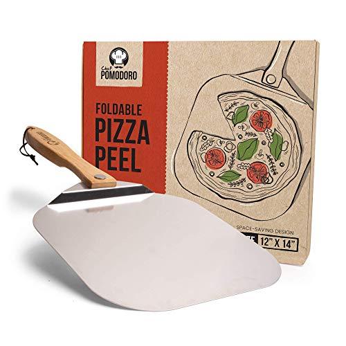 Chef Pomodoro   Pala para pizza de metal con mango de madera plegable para un fácil almacenamiento, pala gourmet para hornear pizzas y panes caseros. Medidas: 30,5 x 35,5 cm