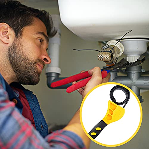 Universal Rubber Strap Wrench, Adjustable Oil Filter Wrench Multi Removal Tool with Rubber Belts for Car Repair Jar Opener Pipe Wrench Plumbing and Shower Head Used by Mechanics or Plumbers, Yellow