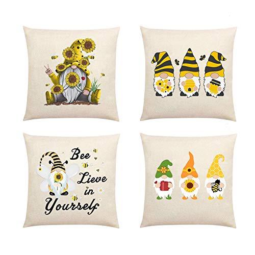 Funda de almohada para muñecas sin rostro, diseño de abejas, diseño de gnomo, funda de cojín cuadrada para sofá, dormitorio, decoración del hogar (multicolor, 4 unidades)