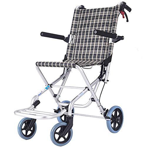 WZC Silla de ruedas Transporte ligero Plegable autopropulsada Silla de viaje portátil Aleación de aluminio Ancianos discapacitados Trolley de viaje